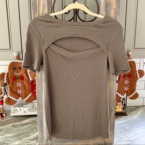 Splendid Soft Gray Tee with Front Cutout